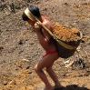 Los niños también colaboran cargando tierra y piedras en sus cestas.