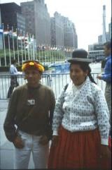 El cacique de Paapiú frente a la ONU, junto a otra representante