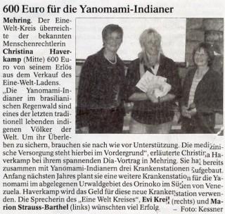 600 Euro für die Yanomami-Indianer