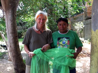 Christina and Antonio are delivering mosquito nets