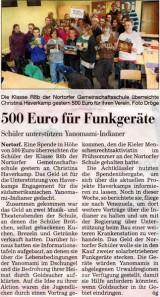 Die Klasse R8b der Nortofer Gemeinschaftsschule überreichte Christina Haverkamp gestern 500 Euro für ihren Verein.