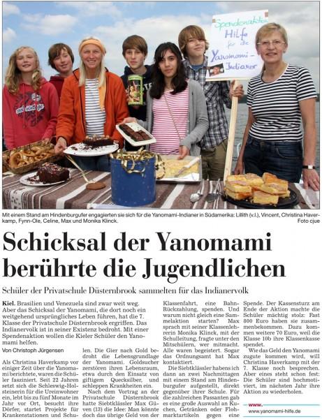 Kieler Nachrichten: Schicksal der Yanomami berührte die Jugendlichen