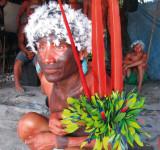 Die Yanomami zeigen sich im prächtigen Federschmuck