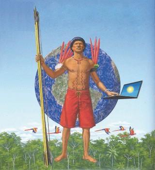 Yanomami jagen mit Pfeil und Bogen und kämpfen mit Laptop für ihre Rechte
