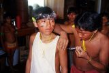 Yanomami lernen eine Injektion in den Oberarm zu geben.