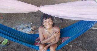 Die Yanomami-Frauen freuen sich über die neuen Moskitonetze